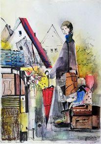 Frau, Kinder, Stadt, Szene