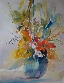 Strauß, Aquarellblumen, Bunt, Vase