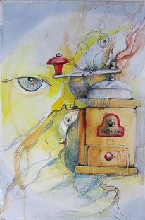 Zeichnung, Kaffee, Aquarellmalerei, Mühle