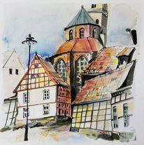 Stadt, Kirche, Fachwerk, Wolgast