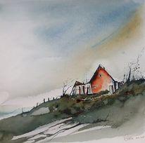 Sturm, Haus, Landschaft, Klippe
