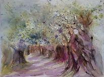 Olivenbaum, Baum, Landschaft, Aquarell