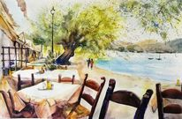 Sonne, Strand, Mittelmeer, Gaststätte