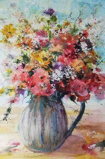 Blumen, Vase, Strauß, Aquarell