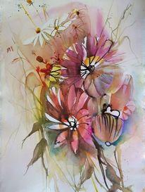Blumen, Rot, Strauß, Aquarell