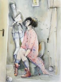 Figur, Illustration, Toilette, Frau