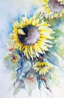 Sonnenblumen, Blüte, Gelbe blumen, Aquarell