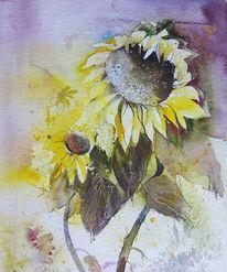 Blumen, Sonnenblumen in aquarell, Blüte, Aquarell