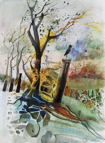 Vogel, Landschaft, Baum, Seele