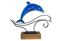 Skulptur, Welle, Metall, Delfin