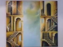 Malerei, Ölmalerei, Surreal, Treppe