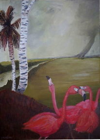 Palm tree, Blues, Flamingo, Storm