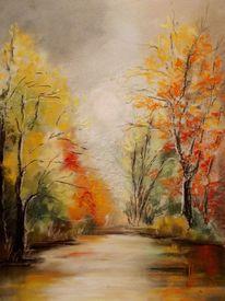 Landschaft, Bunt, Baum, Pastellmalerei