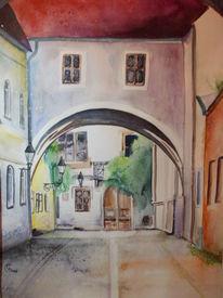 Architektur, Gebäude, Geschichte, Aquarellmalerei
