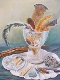 Stillleben, Glas mit federn, Treibgut, Fundstücke
