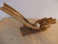 Holzobjekt, Hand, Holunder holz, Stein