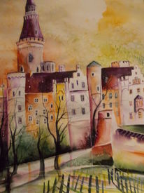 Rheinlandpfalz, Burg, Aquarellmalerei, Schloss