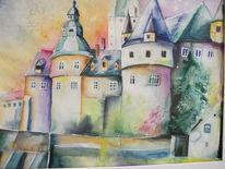 Architektur, Aquarellmalerei, Schloss bürresheim, Burg