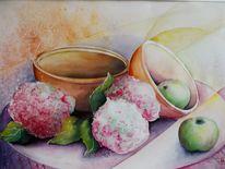 Mischtechnik, Hortensien blüten, Stillleben, Apfel