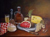 Brotzeit, Ölmalerei, Schinken, Käse
