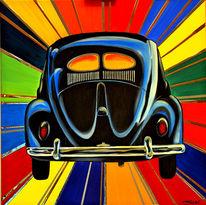 Auto, Schwarzer käfer, Acrylmalerei, Magicbeetle