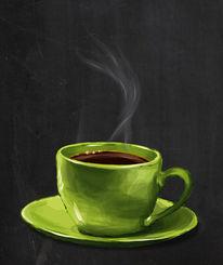 Grün, Kaffee, Trinken, Digitale kunst