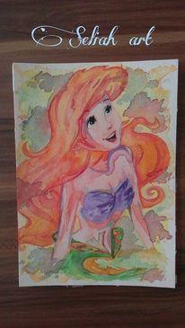 Wasser, Red hair, Malerei, Frau