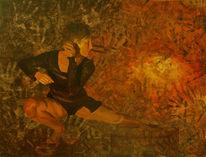 Braun, Tanz, Schwarz, Ölmalerei