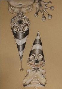 Akrobatin, Zipfelmütze, Zirkus, Clown