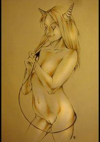Zeichnung, Frau, Teufel, Akt