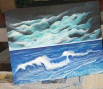 Schwarz, Strand, Nacht, Blau
