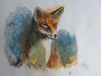 Tiere, Fuchs, Aquarellmalerei, Aquarell
