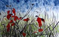 Herbst, Blätter, Aquarellmalerei, Aquarell