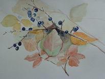 Aquarell, Herbstblätter