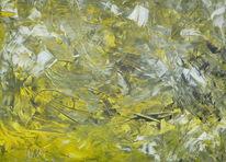 Acrylmalerei, Gelb, Schwarz weiß, Abstrakt