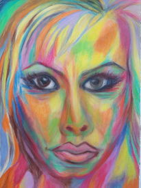 Portrait, Augen, Farben, Frau