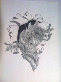 Fantasie, Zeichnung, 3d, Drache