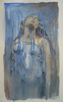 Menschen, Frau, Blau, Trauer
