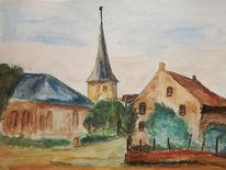 Dorf, Saar, Kirche, Aquarell
