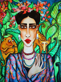 Natur, Frau, Malerei, Wald