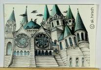 Bau, Surreal, Zeichnung, Zeichnungen