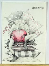 Zeichnung, Surreal, Weihnachtsmann, Figural
