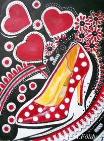 Herz, Rot schwarz, Schuhe, Punkt