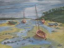 Malerei, Landschaft, Wasser, Acrylmalerei