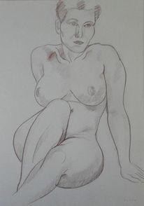 Akt, Buntstiftzeichnung, Figurativ, Zeichnungen