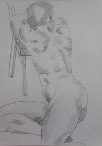 Rückenakt, Figurativ, Menschen, Zeichnung
