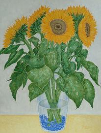 Aquarellmalerei, Zeichnung, Sonnenblumen, Aquarell
