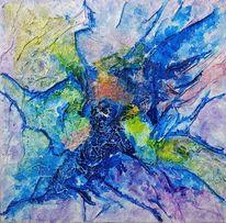 Papiercollage, Acrylmalerei, Tinte, Farbverlauf