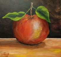 Blätter, Rot, Apfel, Obst