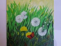 Löwenzahn, Pusteblumen, Blumenwiese, Schmetterling